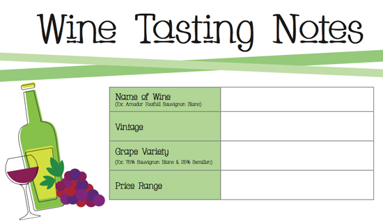 photo relating to Blind Wine Tasting Sheets Printable known as Printable Wine Tasting Notes POPSUGAR Foods